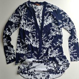 Belldini Long Cotton Blend Blue Floral Cardigan